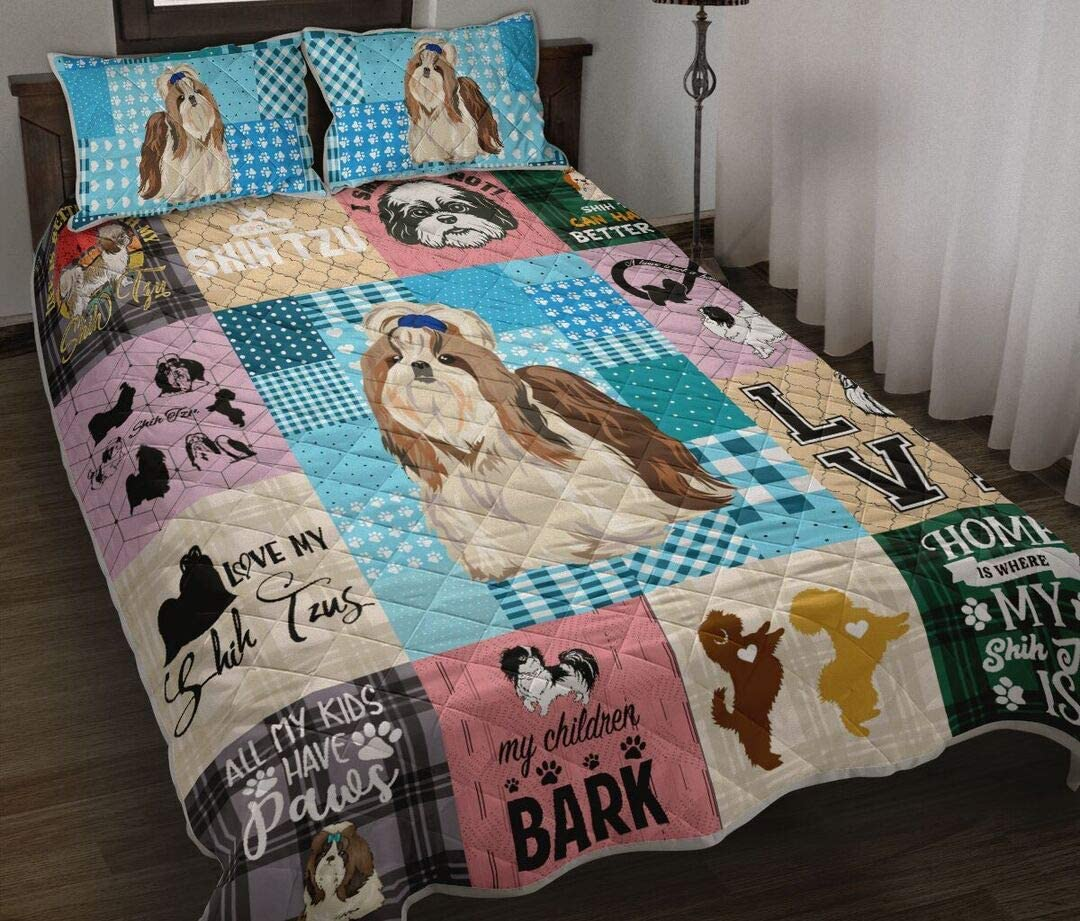 Personalized Shih Tzu Caro Quilt Lovers Set Same day shipping for Free shipping New Gift Your