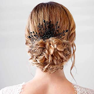 Barode Bridal Wedding Hair Combs BLACK Crystal Headpieces Pearl Hair Accessories for Women and Girls (Black)