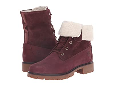 Timberland Jayne Waterproof Teddy Fleece Fold Down (Burgundy Nubuck) Women
