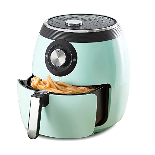 Dash DFAF455GBAQ01 Deluxe Electric Air Fryer + Oven Cooker with Temperature Control, Non-stick Fry Basket, Recipe Guide + Auto Shut Off Feature, 1700-Watt, 6 Quart, 6 qt, Aqua