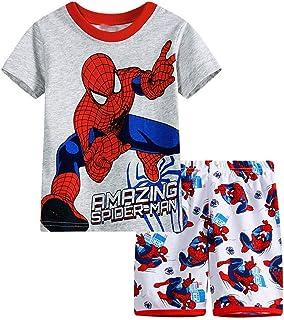 82e1e20f9e6b4 Enfant Super héros Spiderman Dessin animé Pyjamas Costume Spiderman Garçon  T-Shirt Shorts T-