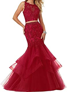 Linabridal Women's Mermaid Long Formal Prom Gowns Tulle Applique Two Pieces Evening Dresses