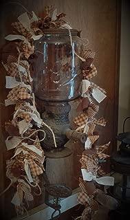 The Olde Sap Bucket Warm Walnut Homespun Lighted Rag Garland~Primtive~Accents~