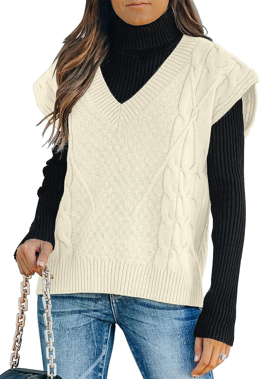 Lookbook Store Women's V Neck Knitwear Daily bargain sale Sleeveless Sweater F Vest High material