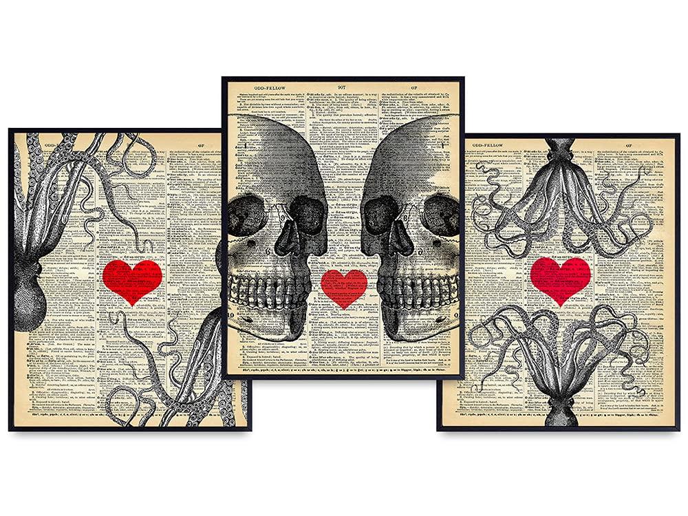 Skull free Octopus 55% OFF Dictionary Wall Art Set 8x10 Deco Goth – Home