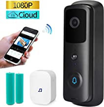 Smart Video Doorbell, 1080P HD WiFi Security Camera with Free Cloud Storage, Two-Way Talk, Motion Detector, 166°Wide Angle & Video Night Vision, App Remote Control for iOS/Android (Black)