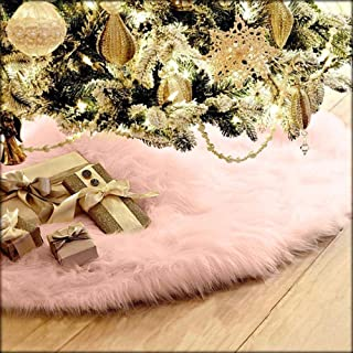 Christmas Tree Skirt - Plush Xmas Christmas Tree Skirts Ornament for Xmas Decor Festive Holiday Decoration, 30.7Inch in Diameter Fit any Size of Tree, TLT Retail (Pink)
