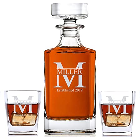 Engraved Retirement Leaving Gift Personalised Paris Cut Crystal Whisky Decanter