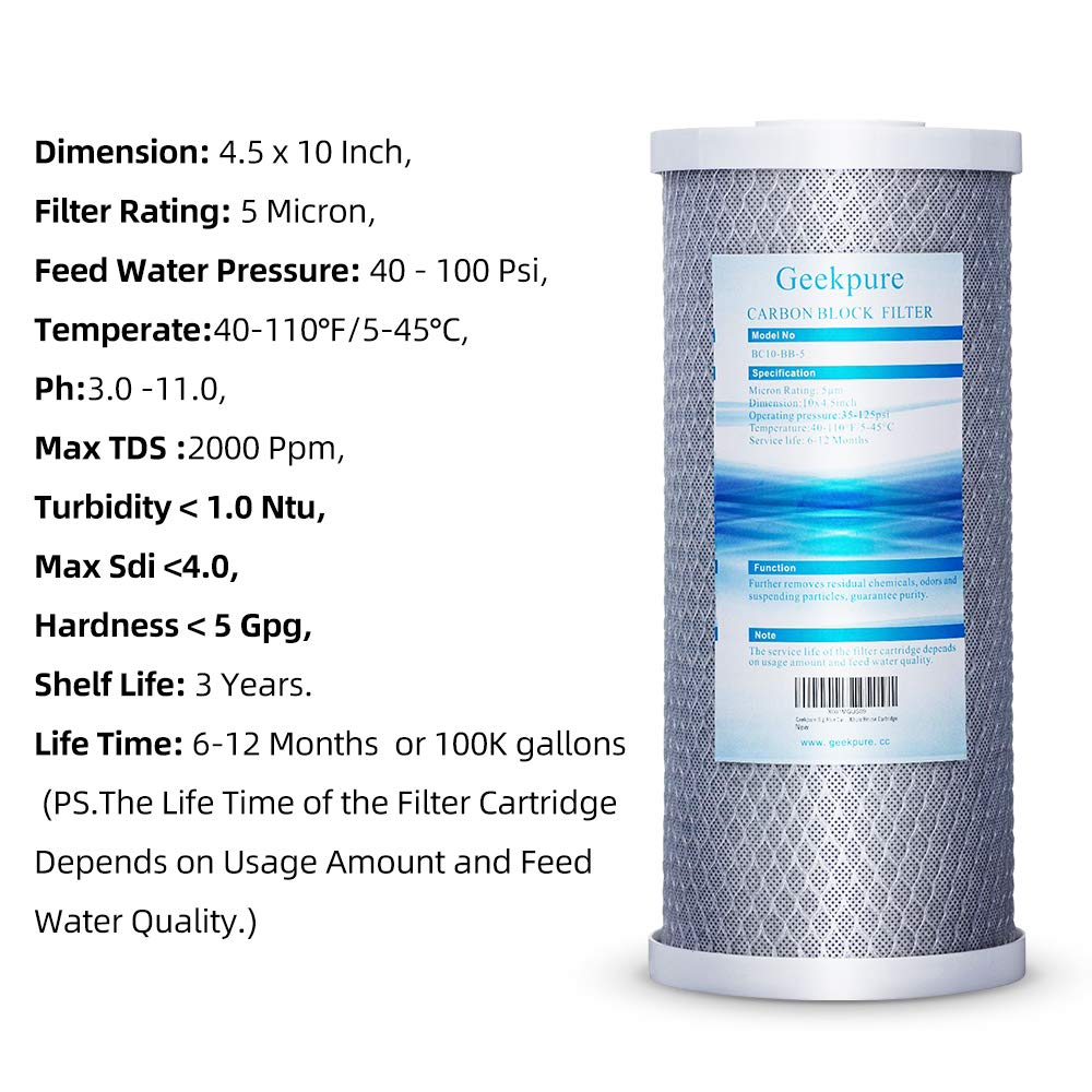 Geekpure 10-Inch Big Blue Universal Compatible Block Carbon Filter Remove Chlorine Taste Odors-4.5 Inch x 10 Inch-5 Micron-Pack of 12