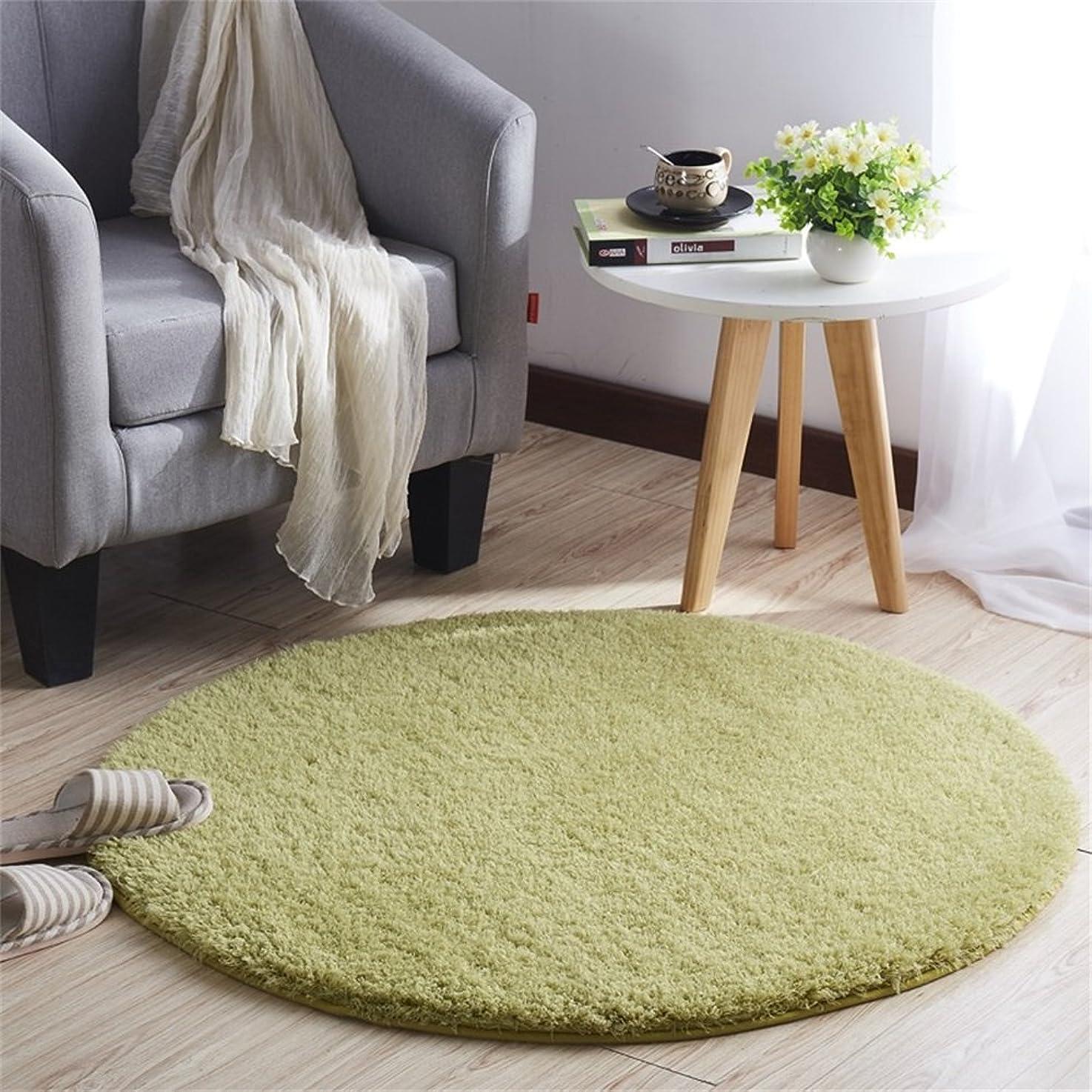 望まない動詞虚弱CLAXAM 一瞬だけでとろけそう~!ラブリーシャギーラグ 丸い絨毯 極上の繊細さと柔らかさ、サラサラな質感で、あなたの欠かせない家飾りの味方 (80cm, グラスグリーン)