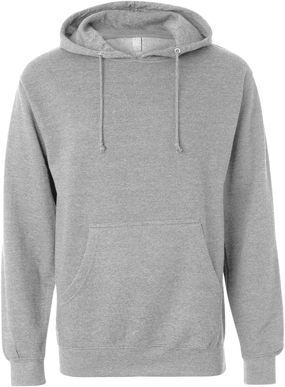 Independent Trading Co. Midweight Hood Sweatshirt SS4500-Nvy Hth-MD Grey Heather