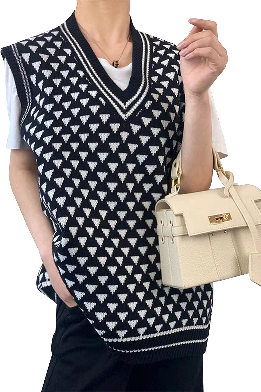 Arssm Womens V-Neck Sleeveless Sweater Vest Triangular Pattern Knitwear Tank