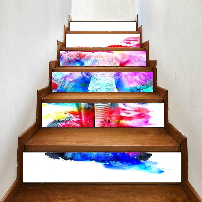 ALALAL 6 Pcs Modern Art Stair Vinyl Pattern Max 65% OFF Elephant Ho Stickers Charlotte Mall