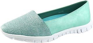 Nature Breeze Women's Snakeskin Almond Toe Slip On Flat Sneaker Soft Leatherette Fashion Lightweight Shoes