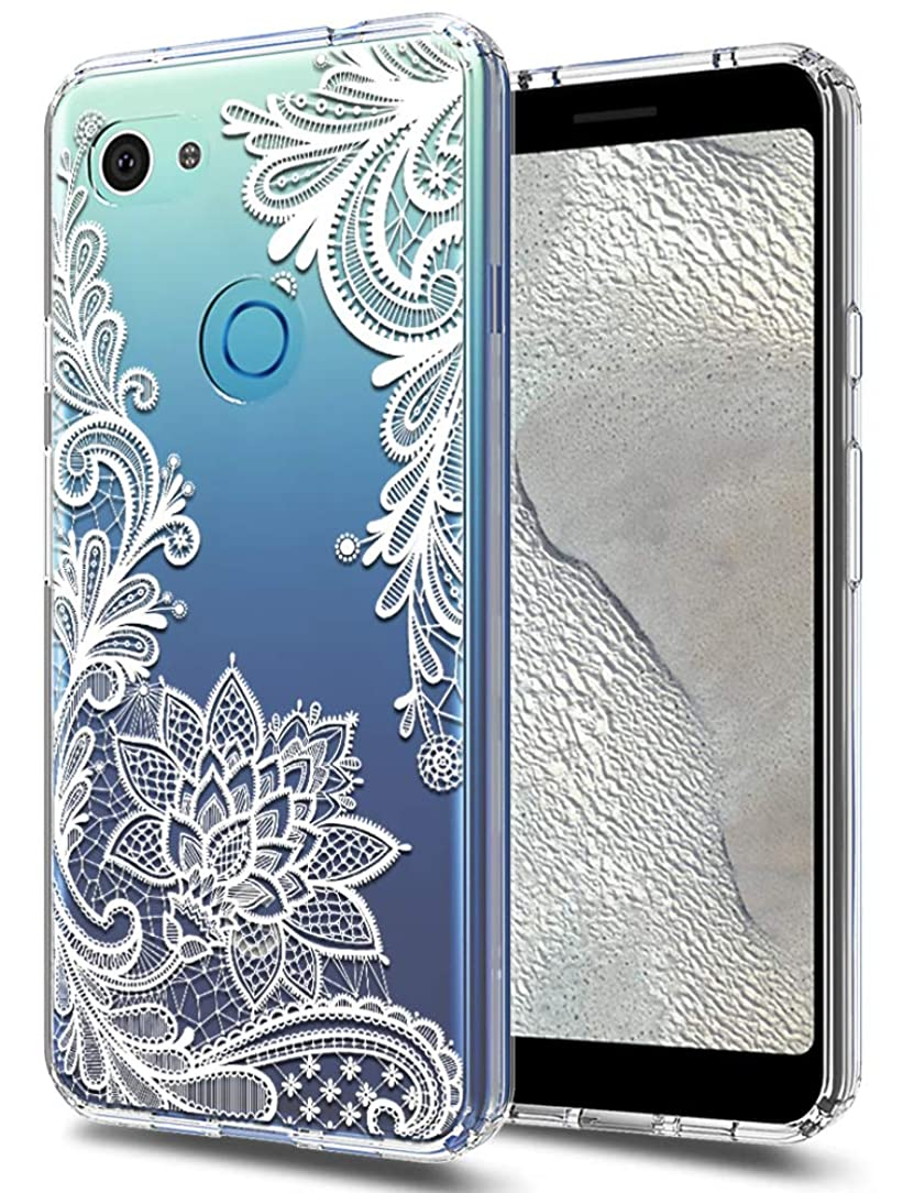 Google Pixel 3a XL Case Huness TPU Grip Bumper and Clear Flower Transparent Hard PC Backplate Hybrid Slim Phone Case Cover for Google Pixel 3a XL Phone (Flower)