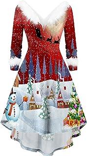 L9WEI Kerstmis tuniek partyjurk met onregelmatige rok dames plush avondjurk feestelijke V-hals jurk vrouwen cosplay kostuu...