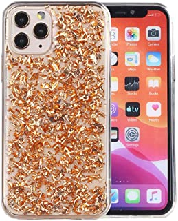 iPhone 11 Pro Max Case, iYCK Luxury Bling Glitter Sparkle Gold Foil Transparent Flexible Soft Rubber TPU Protective Shell Bumper Case Cover for Apple iPhone 11 Pro Max 6.5 inch 2019 - Champagne Gold