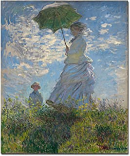 Wieco Art Woman with a Parasol Madame Monet and Her Son Canvas Prints Wall Art of Claude Monet Famous Classic Oil Paintings Reproduction Gallery Wrapped People Pictures Artwork for Bedroom Home Decor