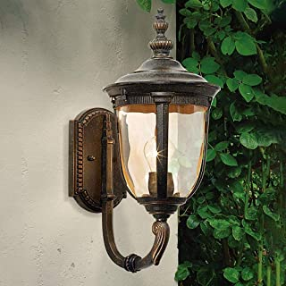 Belief Rebirth Outdoor Wall Light Fixture Bronze - Hammered Glass Sconce for House Deck Patio - Outside Wall Hanging Lights for Courtyard Villa Corridor