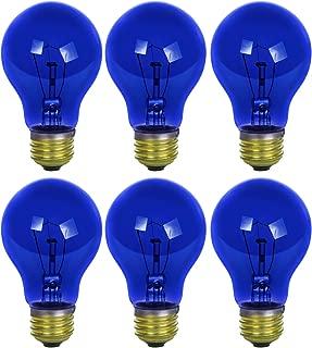 Sunlite 25A/TB/B/6PK Incandescent Blue A19 25W Light Bulbs, Medium (E26) Base, 6 Pack, Transparent