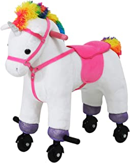 Qaba Walking Unicorn Horse Toy with Wheels and Sound for Kids, Plush Ride-On Battery Operated, White