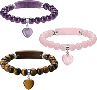 Hicarer 3 Pieces Healing Heart Charm Stretch Bracelets Crystal Stone 8 mm Beads Chakra Crystal Energy Charm Bracelet with ...