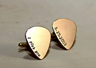 personalized bronze cuff links in guitar pick shape