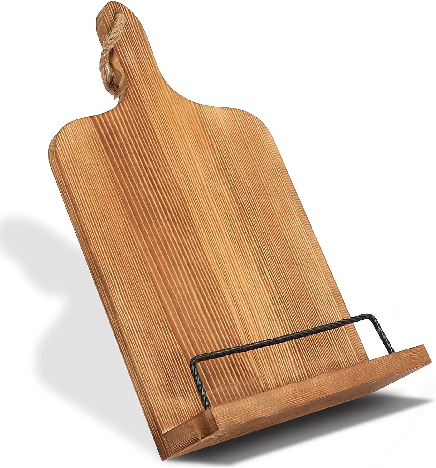 AerWo Cookbook Stand for Kitchen Counter, Rustic Adjustable Reci