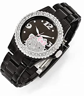 Hello Kitty Black dial Crystal Bezel Acrylic Case and Strap Watch 8