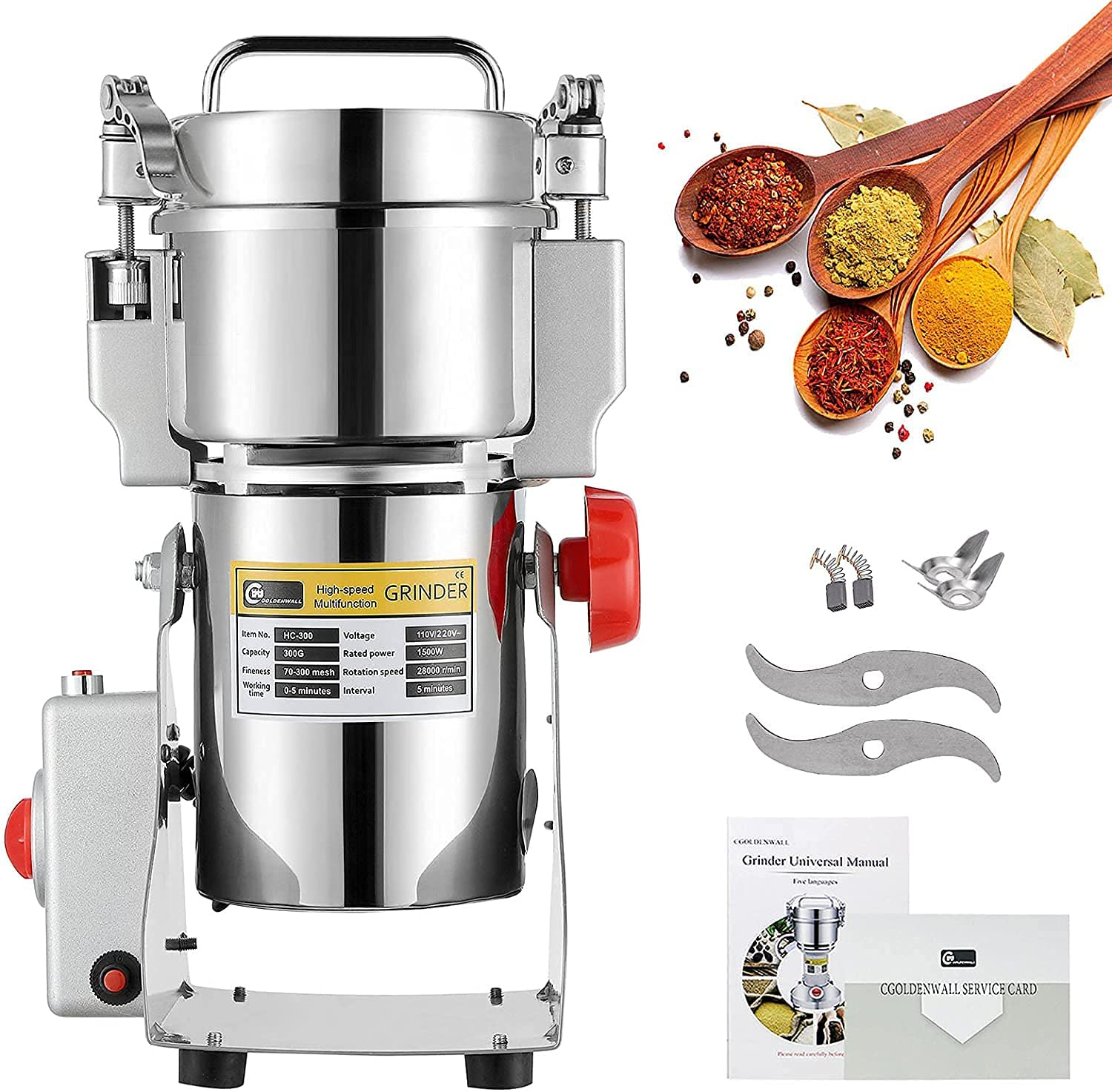 CGOLDENWALL 300g High-Speed Selling Electric Stainles New products world's highest quality popular Grain Grinder Mill