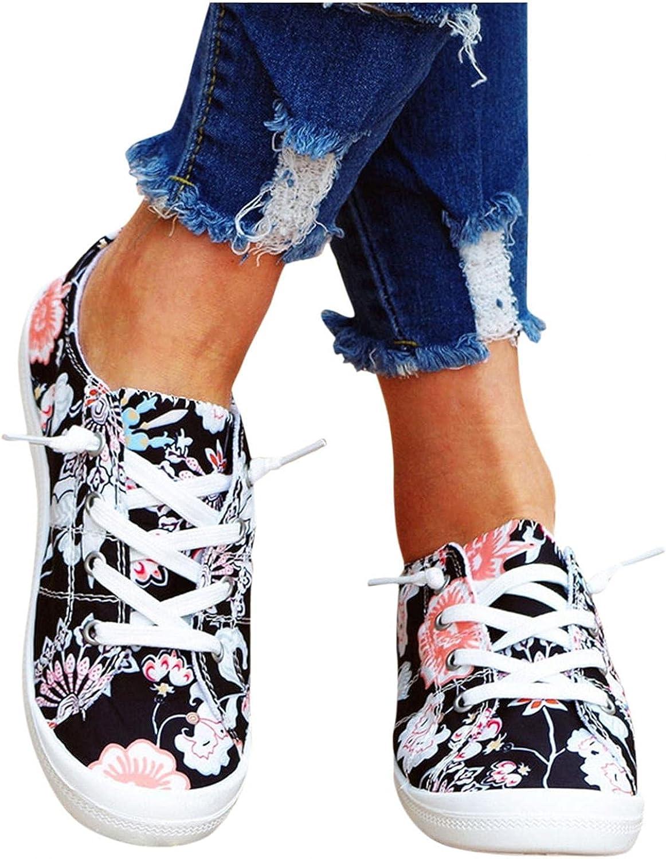 Hbeylia Women's Fashion Sneakers Flower Design Fashion Casual La