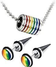 Assorted Gay LGBT Pride Rainbow Pendant Necklace,2pcs 8MM Punk Rock Rivet Earring Studs,Hypoallergenic