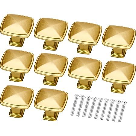 Winfred Lot de 10 Bouton de Tiroir, Poignées de Meuble Dorées en Alliage d'Aluminium Bouton de Porte pour Placards, Porte, Tiroir et Armoire, Or