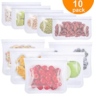 Reusable Food Storage Bags, Monato 10 Pack BPA Free Leakproof Freezer Bags for Kids, 5 Reusable Sandwich Bags & 5 Reusable Snack Bags, Extra Thin Ziplock Bag for Eco-friendly Kitchen Home Organization