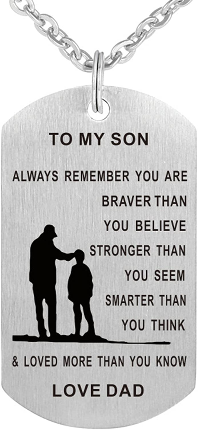 TTVOVO Dad Mom to My Son Daughter Inspirational Necklace Dog Tag Pendant Necklace Always Remember You Are Braver Than You Believe Military Motivational Encouragement Dogtags Jewelry Birthday Love Gift