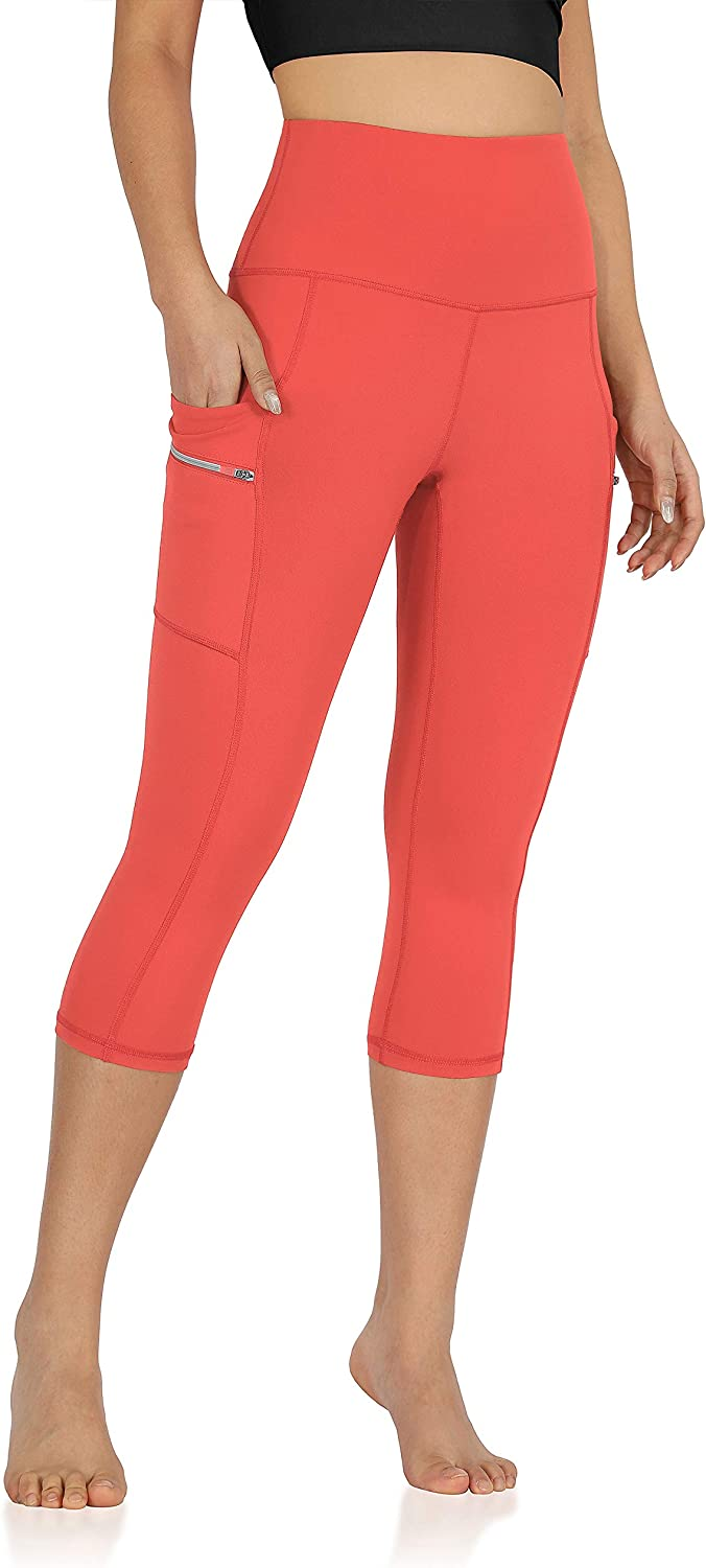 """ODODOS Women's High Waisted Dual Pockets Workout Capris Leggings, Sports Running Yoga Gym Athletic Leggings- 19"""" / 28"""" Inseam: Clothing"""