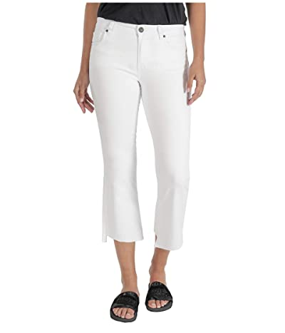 KUT from the Kloth Kelsey High-Rise Ankle Flare Step Raw Hem in Optic White (Optic White) Women