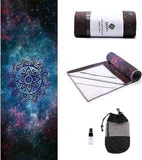 (Galaxy(Corner Pockets)) - Yoga Towel,Hot Yoga Mat Towel with Corner Pockets Design - Sweat Absorbent Non-Slip for Hot Yog...