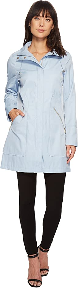 Ivanka Trump Zipper Front Oversized Pocket Hooded Raincoat