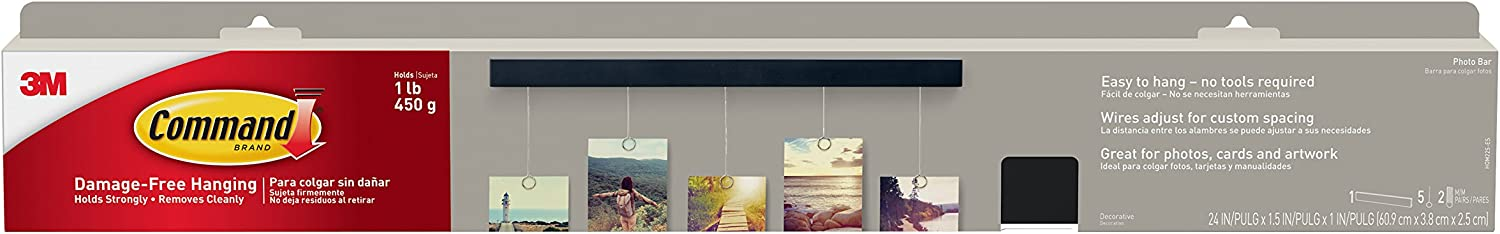 Command 076308731038 Photo, 1-Bar, 5-Wires, 2-Sets of Medium Picture Hanging Strips (HOM22S-ES), Black