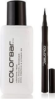 Colorbar Nail Polish Remover, 110ml & Ultimate Eye Liner, Black, 1ml Combo