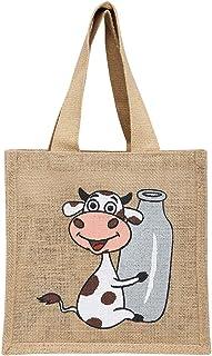 Back To Earth HomeStop Unisex Jute Cow Print Milk Bag (White, Free Size)