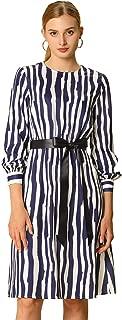 Allegra K Women's Irregular Striped Print Belted Round Knee Length Long Sleeve Dress