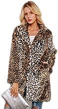 Shilanmei Women Warm Long Sleeve Parka Faux Fur Coat Overcoat Fluffy Top Jacket Leopard