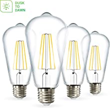 Sunco Lighting 4 Pack ST64 LED Bulb, Dusk-to-Dawn, 7W=60W, 3000K Warm White, Vintage Edison Filament Bulb, 800 LM, E26 Base, Outdoor Decorative String Light - UL, Energy Star