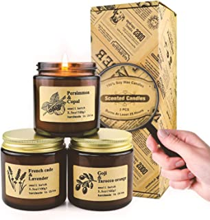 Candles | Scented Candle Sets | Luxury Candles Gifts for Women | Home Decor Amber Jar Aromatherapy Candles | Organic Soy Candles Long Lasting Burning High Scents Candles | Gift Box 3x3.5oz