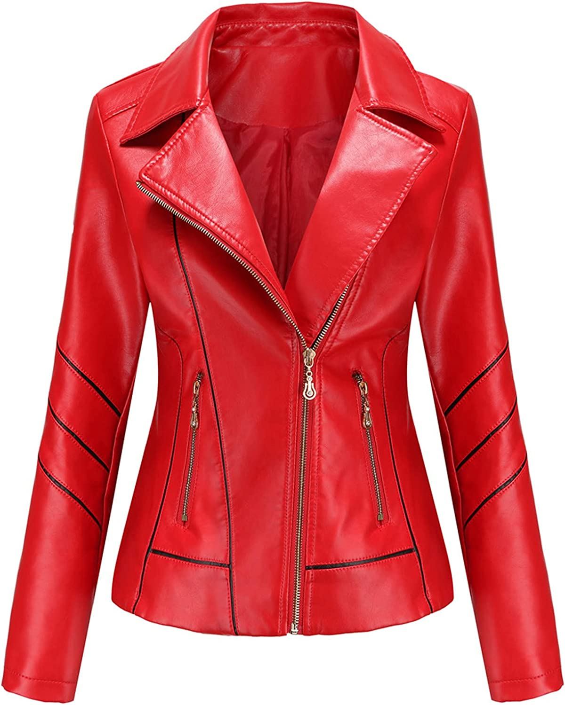 NIDOV Women Leather Moto Biker Outstanding Selling and selling Cropped Coat Plus Zipper Jackerts