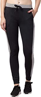 American-Elm Women's Slim Fit Contrast Stripe Stylish Cotton Track Pants