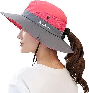 Women s Summer Sun UV Protection Hat Foldable Wide Brim Boonie Hats for  Beach Safari Fishing bc71a386706c