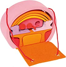 Grimm's 'Bauhaus' Mobile Doll's Home in Pink/Orange - Wooden Carry Along Dollhouse Set with Furniture
